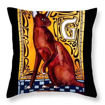 Chocolate Delight - Havana Brown Cat - Cat Art By Dora Hathazi Mendes Throw Pillow
