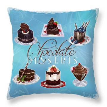 Chocolate Desserts Throw Pillow