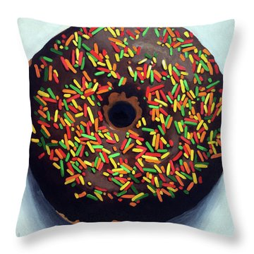 Chocolate Donut And Sprinkles Large Painting Throw Pillow