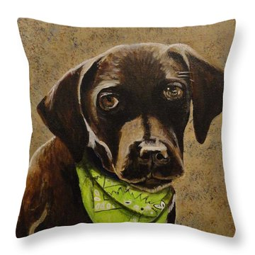 Chocolate Lab Throw Pillow by Betty-Anne McDonald