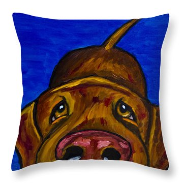 Chocolate Lab Nose Throw Pillow by Roger Wedegis
