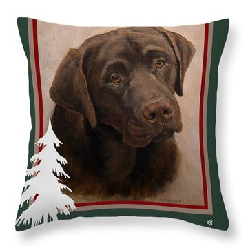 Chocolate Labrador Portrait Christmas Throw Pillow
