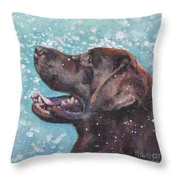 Throw Pillow featuring the painting Chocolate Labrador Retriever by Lee Ann Shepard