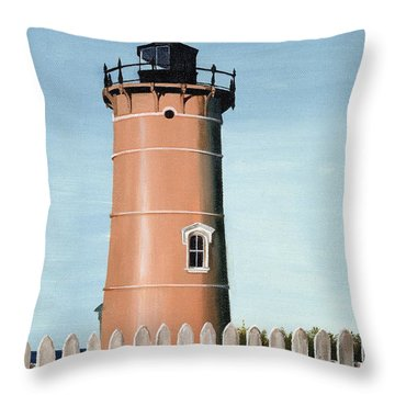 Chocolate Lighthouse Throw Pillow by Mary Rogers
