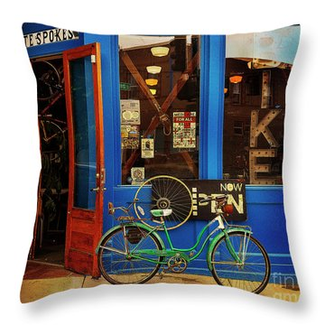 Throw Pillow featuring the photograph Chocolate Spokes Bicycle by Craig J Satterlee