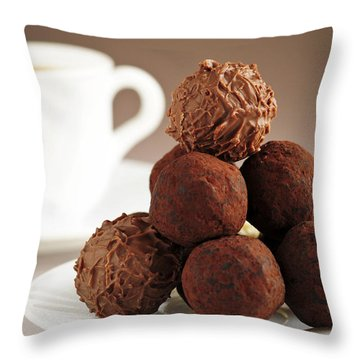 Chocolate Truffles And Coffee Throw Pillow by Elena Elisseeva