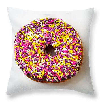 Cholocate Donut With Sprinkles Throw Pillow