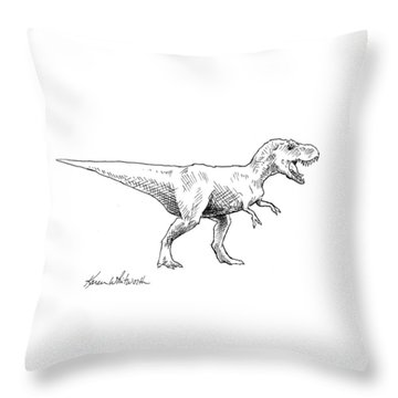 Tyrannosaurus Rex Dinosaur T-rex Ink Drawing Illustration Throw Pillow by Karen Whitworth