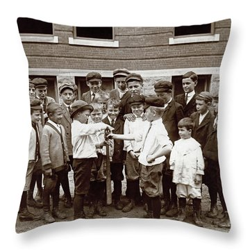 Choosing Baseball Teams Throw Pillow