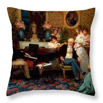 Chopin Playing The Piano In Prince Radziwills Salon Throw Pillow by Hendrik Siemiradzki