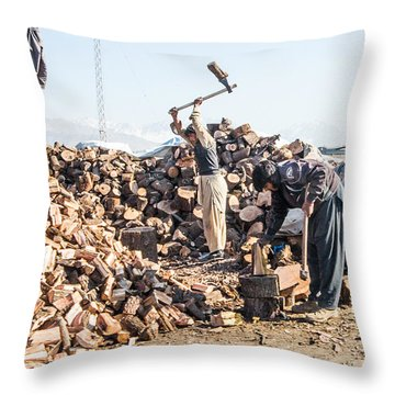 Chopping Wood Throw Pillow