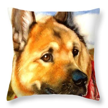 Chow Shepherd Mix Throw Pillow by Marilyn Jacobson