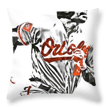 Throw Pillow featuring the mixed media Chris Davis Baltimore Orioles Pixel Art by Joe Hamilton