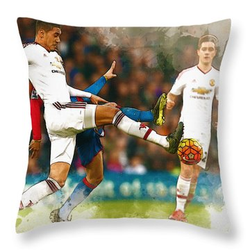 Chris Smalling  In Action  Throw Pillow by Don Kuing