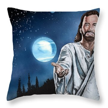 Christ At Night Throw Pillow by Bill Richards