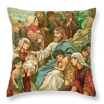 Christ Blessing Little Children Throw Pillow