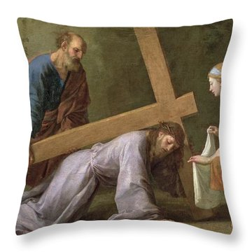 Christ Carrying The Cross Throw Pillow by Eustache Le Sueur