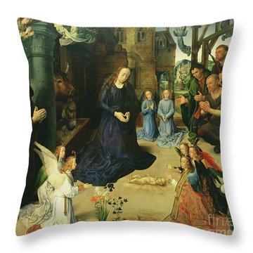 Christ Child Adored By Angels Throw Pillow