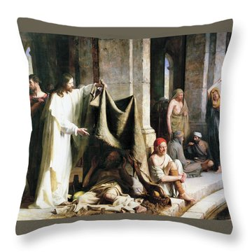 Christ Christ And The Man At The Healing Wel Throw Pillow