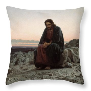 Throw Pillow featuring the painting Christ In The Desert by Ivan Kramskoi
