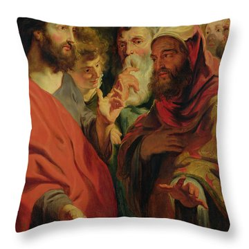 Christ Instructing Nicodemus Throw Pillow by Jacob Jordaens