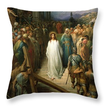 Christ Leaves His Trial Throw Pillow by Gustave Dore