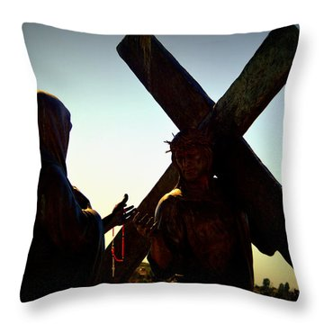Christ Meets His Mother Throw Pillow