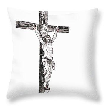 Christ On Cross Throw Pillow