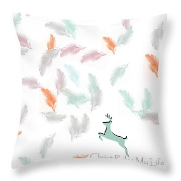 Throw Pillow featuring the digital art Christ Rules My Life by Trilby Cole