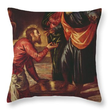 Christ Washing The Feet Of The Disciples Throw Pillow by Tintoretto