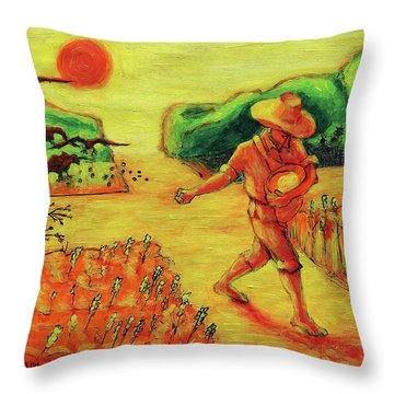 Throw Pillow featuring the painting Christian Art Parable Of The Sower Artwork T Bertram Poole by Thomas Bertram POOLE
