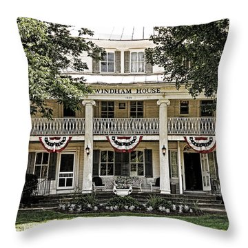 Throw Pillow featuring the photograph Christmans Windham House by Nancy De Flon