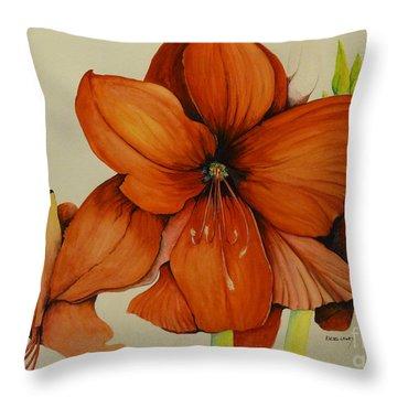 Christmas Amaryllis Throw Pillow by Rachel Lowry