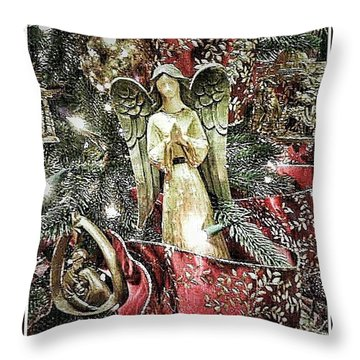 Christmas Angel Greeting Throw Pillow