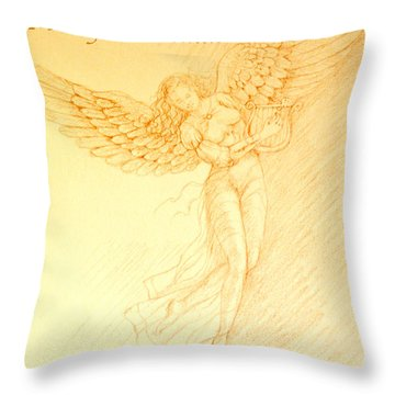 Christmas Angel With Harp Throw Pillow