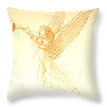 Christmas Angel With Trumpet Throw Pillow