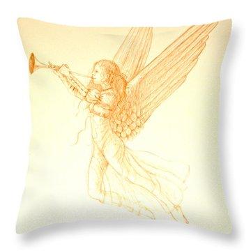 Christmas Angel With Trumpet Throw Pillow by Deborah Dendler