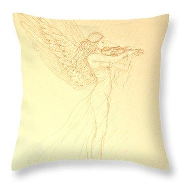 Christmas Angel With Violin Throw Pillow