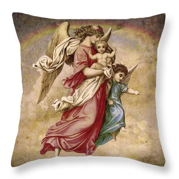 Christmas Angels And Baby Throw Pillow