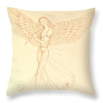 Christmas Angerl With Flute Throw Pillow