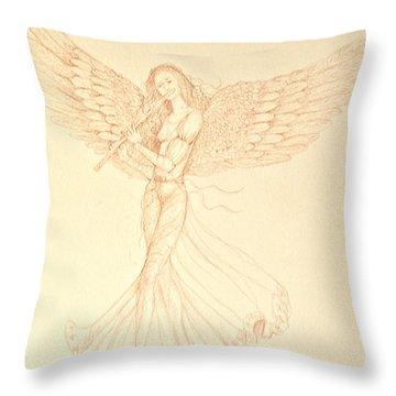 Christmas Angerl With Flute Throw Pillow by Deborah Dendler