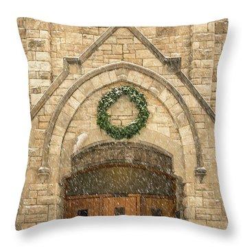 Christmas At Stone Chapel Throw Pillow