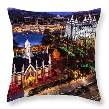 Christmas At Temple Square Throw Pillow