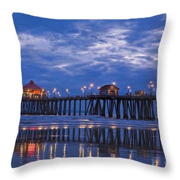 Christmas At The Huntington Beach Pier Throw Pillow