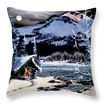 Christmas At The Lake V2 Throw Pillow