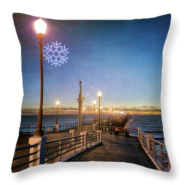 Christmas At The Pier Throw Pillow by Ann Patterson
