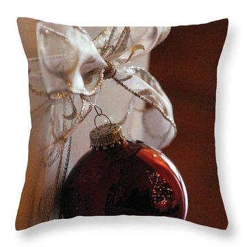 Christmas Ball And Bow Throw Pillow by Alycia Christine