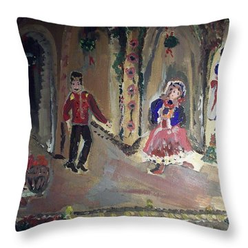 Christmas Ballet Throw Pillow by Judith Desrosiers