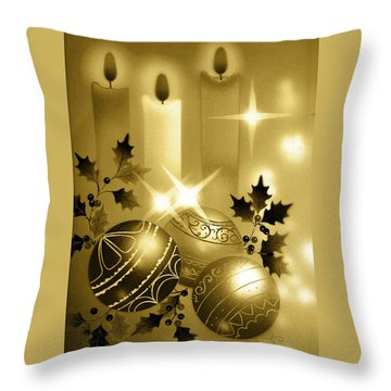 Christmas Balls And Candles Black And Gold Throw Pillow