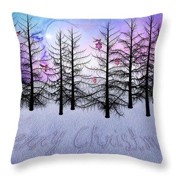 Christmas Bare Trees Throw Pillow